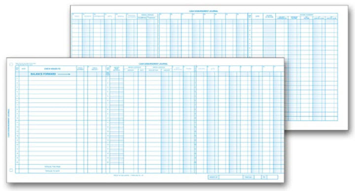 Personal Size Accounting System Journal Sheets