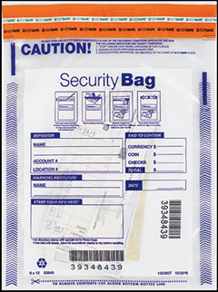 Single Pocket Money Handling Bag Clear Small 9 x 12 53849