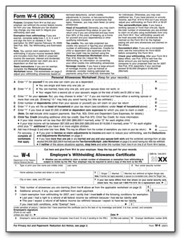 W-4 Employee Witholding Form TF1020